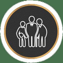 אייקון של תכנון פרישה אג'נדה סוכנות ביטוח עם רקע שחור
