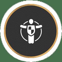 אייקון של ניהול סיכונים אג'נדה סוכנות ביטוח עם רקע שחור